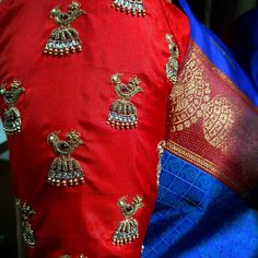 We love how excited our clients get when they see our finished products our team thrives on happy clients! Thank you guys for all the support and encouragement.. #jimikkikammal #customembroidery #pattusaree #embroidery #southindianbride #southindianwedding #tamilbride #tamil #sameenas #weddinginspiration #weddingreception #silksarees