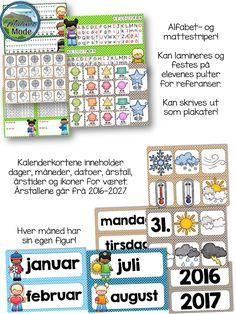Nydelig klasseromsdekor i ti ulike farger! Alfabet- og mattestriper, kalender, fag og redigerbare navnelapper! Periodic Table, Bullet Journal, Teacher, Type, Blog, 3, Calendar, Periodic Table Chart, Professor