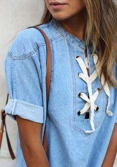 denim + lace up detail