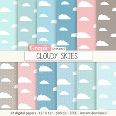 """Clouds digital paper: """"CLOUDY SKIES""""  clouds backgrounds in blue, pink, gray, rainy days, sky papers, rain, polkadots, pastel #patterns #texture"""