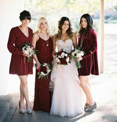 deep red velvet bridesmaid dresses