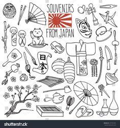 "Traditional souvenirs from Japan. Japanese hieroglyphs on the scroll means ""Japan"". Vector freehand illustration isolated on white background. Japan Kawaii, Line Art, Japan Illustration, Japanese Drawings, Japan Tattoo, Maneki Neko, Japan Art, Osaka Japan, Flyer"