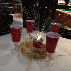 My Red Solo Cup Crawfish Boil Table Decorations (pic with crawfish to follow)