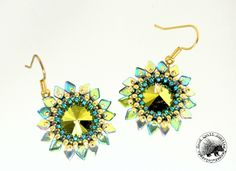 Sun Spots Beaded Earrings-Luminous Green by GoodQuillHunting on Etsy https://www.etsy.com/listing/244538508/sun-spots-beaded-earrings-luminous-green
