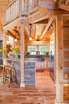 Log/ beam kitchen.kitchen decor. Wood. Slate. Country rustic. Homey. Comfy. Comfortable. Family. Loft. 2016