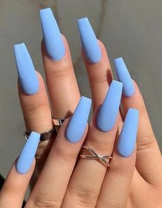 Acrylic Nails Coffin Short, Simple Acrylic Nails, Summer Acrylic Nails, Summer Nails, Blue Coffin Nails, Spring Nails, Simple Nails, Cute Acrylic Nail Designs, Blue Nail Designs
