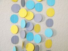 Yellow Gray Aqua Party Decoration Paper Garland Birthday Party, Nursery, Baby or Bridal Shower 10 feet Blue Birthday Parties, 13th Birthday, Birthday Party Decorations, Aqua Party, Gender Neutral Baby Shower, Party Time, Garland, Diy Crafts, Crafty
