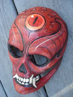 This mask is amde out of paper mache and is devilish and evil looking. ome ides like they black rings and deep red maybe one idea for my mask Paper Mache Mask, Paper Mache Sculpture, Paper Mache Crafts, Sculpture Projects, Ballistic Mask, Japanese Demon Mask, Red Mask, Horror Masks, Skull Mask