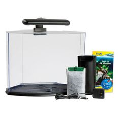 Tetra Crescent Desktop Aquarium Kits - Comes in 3 and 5 gallons. Make sure to get a heater, some tall plants (silk or live) and a lid.