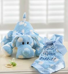"""Puppy with Personalized Blanket for Boy or Girl-Lamboa fabric plush puppy and matching 18"""" x 18"""" blanket, each covered in playful polka dots $39.99 #babyboy #stuffedanimals #newbaby"""