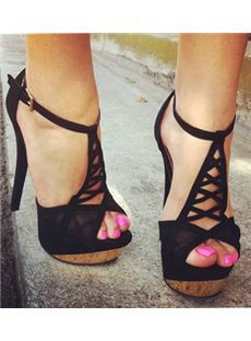 Fashionable Suede Cut-Outs Ankle Strap High Heel Sandals