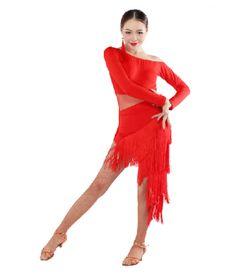 Women long tassel long sleeves latin dance dress set latin dance top dance  skirt Women s Dancewear c41def2dff49
