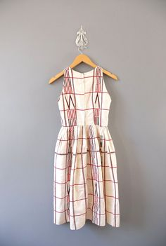 1950s Dress / Rare Woven Dress / 50s. via Etsy.