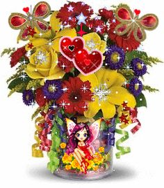 Flowers 4 U My Friend ☺ Celebrate the beauty of life with love~❤💛💜 Roses Gif, Flowers Gif, Beautiful Bouquet Of Flowers, My Funny Valentine, Valentines, Happy Birthday Quotes, Birthday Wishes, Gifs, Mother Card