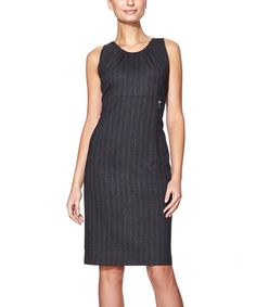 Look at this Graphite & Brown Stripe Belgia Sleeveless Dress on #zulily today!
