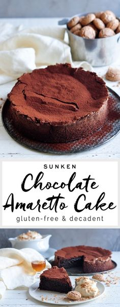 Sunken Chocolate Amaretto Cake from Nigella Lawson #nigella #nigellalawson #glutenfree #chocolate #amaretto