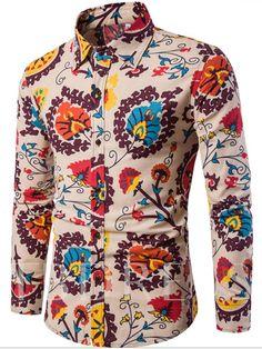b91929fbc Lapel Linen Ethnic Print Luxury Men's Dress Shirt - Tbdress.com Mens Hawaiian  Shirts,