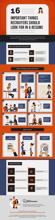 Resume infographic : Resume infographic : What Recruiters Should Look for in a Resume Infographic - Resumes. Resume Tips, Resume Cv, Resume Writing, Resume Ideas, Resume Design, Resume Profile, Infographic Resume, Business Infographics, Job Opening