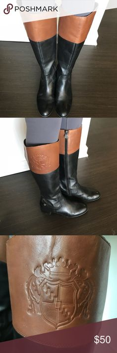 Boots Franco Sarto leather riding boots (black and brown) full length zipper on inside, normal size calf width, women's 8, gently used! Franco Sarto Shoes Heeled Boots