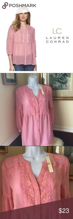 """LC Lauren Conrad Sz XS S Sheer Rose Blouse  NWT Lovely Embroidered detail adds texture to the flowy peasant design. 5-button front  (extra button included) . Scalloped V-neck. Sheer Wild Rose (color) Polyester. sizes: XS ( flat across armpit to armpit 18.5"""") S ( flat across armpit to armpit 19.5"""". Brand new with tags. LC Lauren Conrad Tops Blouses"""