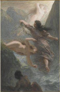 Fantin-Latour Ignace Henri Jean Théodore (1836-1904) : L'Or du Rhin ou souvenir de Bayreuth, pastel, 1876, musée du Louvre.Les Filles du Rhin ou L'Or du Rhin