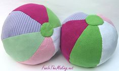 Beach Ball Pillows made from recycled sweaters.