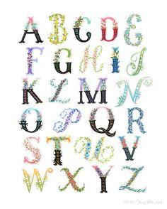 Alfabeto floral  A la Z de lámina