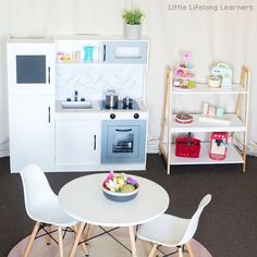 Cute display for play kitchen accessories