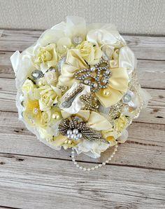 Wedding Ivory Satin Brooch bridal bouquet