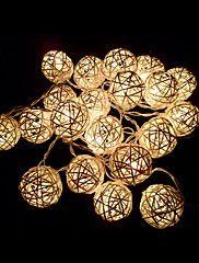 Ivory+White+Handmade+Rattan+Balls+String+Lights...+–+GBP+£+5.59