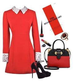 Red Dress by lena-kontos on Polyvore featuring Giuseppe Zanotti, Prada, LE VIAN, Christian Louboutin and Chanel