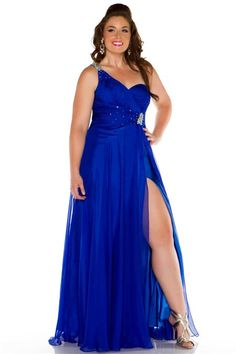 Plus Size One Shoulder Bridesmaid Prom Gown Formal Evening Wedding ...