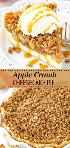 Apple Crumb Cheesecake, Cheesecake Pie, Cheesecake Recipes, Recipe For Apple Crumb Pie, Apple Pie Cake, Crumb Recipe, Cheesecake Squares, Mini Desserts, Easy Desserts