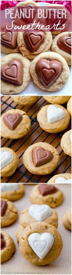 My favorite soft-baked and extra thick peanut butter cookie recipe with heart shaped chocolates. #recipe #cookie