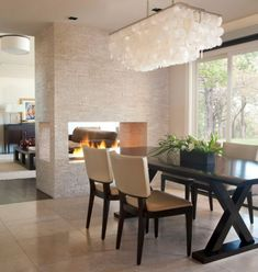 Modern Lighting For Dining Room Modern Dining Room Lights At Modern Dining Room Lighting Ideas Set Dining Room Fireplace, Fireplace Design, Open Fireplace, Fireplace Wall, Fireplace Ideas, Fireplace Lighting, Fireplace Stone, Floating Fireplace, Craftsman Fireplace