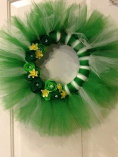 Tulle St Patricks Day Wreath by ThePixyPirate on Etsy, $60.00