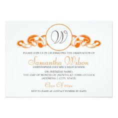 Elegant Graduation Monogram Ribbon Orange 5x7 Paper Invitation Card Invitations Cards
