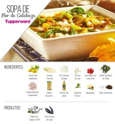Una rica sopa de flor de calabaza al estilo Tupperware.