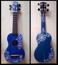 Decorated Ukulele by sivvus. Deviant Arts search for Ukulele instruments. There's some great decorations. Ukulele Art, Ukulele Chords, Guitar Art, Cool Guitar, Painted Ukulele, Ukulele Design, Posca Art, Guitar Painting, Music Love