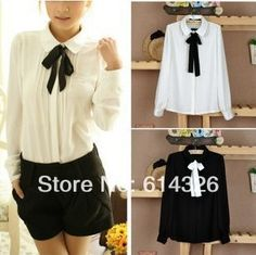 Excellent Quality New Casual Women Peter Pan Collar Tops Cute White Long Sleeve Chiffon Blouse Bow Women Shirt-in Blouses & Shirts from Apparel & Accessories on Aliexpress.com | Alibaba Group