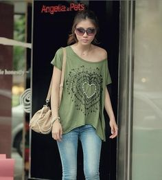 Green Princess Heart T-Shirt Korean Fashion