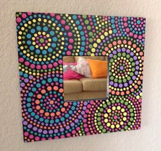 Hand Painted Polka Dotted Dots Square Mirror - Multi Colored (Pink, Turquoise, Yellow, Lime, Orange, Lavender) #BethAnnsJewelry