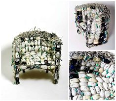 This chair is called 'Mona' and is designed by Ana Carolina Lima Santos from Curitiba | Brazil. Ana made this chair from 259 old upcycled computer mice to reflect the problem of electronic waste our modern societies are now facing with all that electronic objects around us. She got for this chair a Honorable Mention …    Read More »  #Chair, #Computer, #Design, #Upcycled #RecycledElectronicWaste, #RecycledFurniture Recycled Art Projects, Recycled Furniture, Recycled Wood, Recycling Projects, Diy Projects, Old Tee Shirts, Everyday Items, Electronics Projects, Making Out