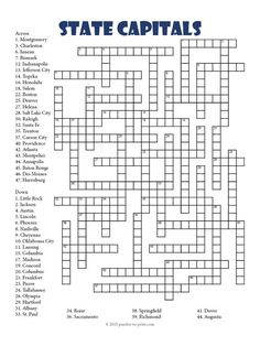 A Challenging Crossword Puzzle To Help Students Learn The Names Of US State Capital Cities