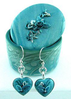 Teal Trinket Box with Earrings Set by jkay jewelry, via Flickr