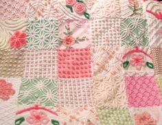 Pink. peach, and mint green vintage chenille quilt