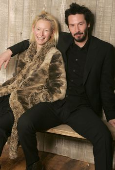 Tilda Swinton and Keanu Reeves photographed by Jeff Vespa, 2005.