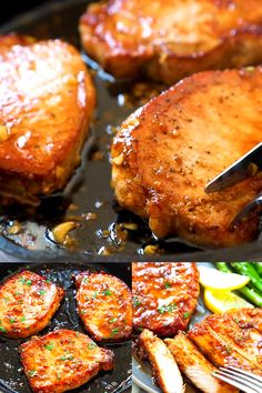 Garlic Pork Chops Honey Garlic Pork Chops cooked in a skillet, with sticky honey garlic sauce, all done in less than 15 minutes.Honey Garlic Pork Chops cooked in a skillet, with sticky honey garlic sauce, all done in less than 15 minutes. Meat Recipes, Chicken Recipes, Healthy Recipes, Salmon Recipes, The Chew Recipes, Potato Recipes, Recipies, Easy Dinner Recipes, Easy Meals
