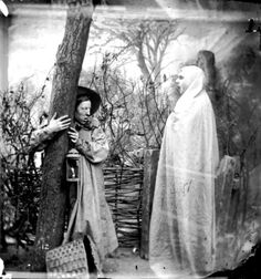 """A man clings to a tree in terror when confronted with an apparition in 1865. 