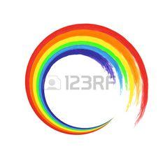 Brush ictus arcobaleno cerchio su sfondo bianco per la progettazione. Acquerello. Illustrazione vettoriale